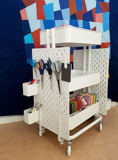 Ikea hack: How to create a mobile pegboard storage unit from the Raskog cart and Skadis pegbo. - Ikea hack: How to create a mobile pegboard storage unit from the Raskog cart and Skadis pegboard # - Pegboard Craft Room, Pegboard Storage, Craft Room Storage, Kitchen Pegboard, Craft Rooms, Pegboard Display, Ikea Pegboard, Painted Pegboard, Garage Tool Storage