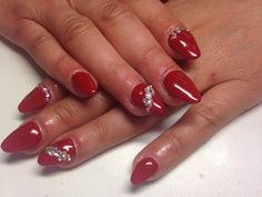 Red nails with crystals