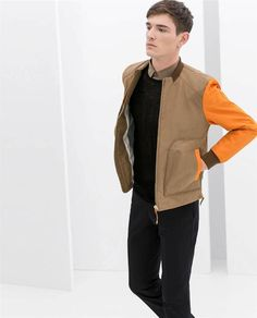 ZARA Man BNWT Tan Jacket With Pockets And Contrasting Pockets Orange Sleeves M