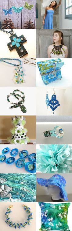 "See so many lovely Blue, Aqua and Green Gifts in my Treasury ""Flights of Fancy!"" by Eloise Powell on Etsy--Pinned with TreasuryPin.com  Enjoy! The direct link to my Etsy Shop is: https://www.etsy.com/shop/AdornmentsByEloise?ref=hdr_shop_menu Thanks, Eloise ***AdornmentsByEloise***"