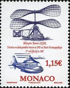 Sello: Centenario del Vuelo de la Luz Helicóptero Mónaco Aviación