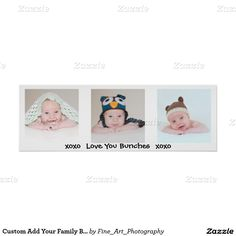 Custom Add Your Family Baby Or Kids Photo Collage Poster Add 3 of your adorable baby boy or girl, kids, family or special photo to this wall panel collage.