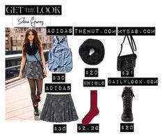 """Get the Look: Selena Gomez"" by sydneyswiftt ❤ liked on Polyvore featuring adidas, adidas NEO, Vero Moda, The Cambridge Satchel Company, DailyLook, Uniqlo, GetTheLook, LookForLess, selenagomez and stylesteal"
