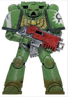 Battle-Brother Ation of the Aurora Chapter's 10th Devastator Squad, 5th Devastator Company; note the laurels awarded for heroism in the Vidar Sector.