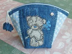 teddy bear embroidery on bag