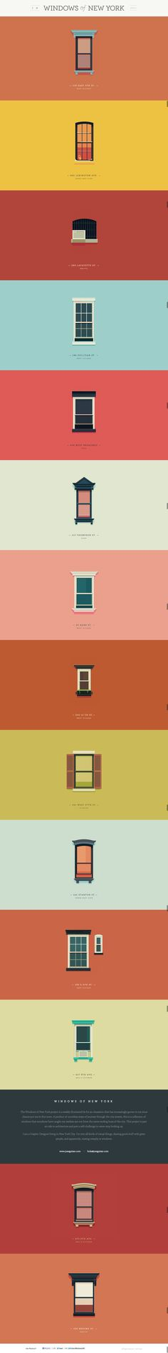 Great set of illustrations of various windows styles scatered about in NYC #webdesign