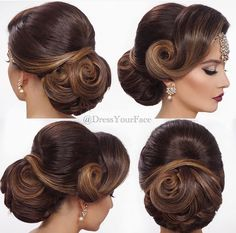 indian wedding hair Indian Wedding Bridal Hairstyles That Make You More Than Pretty- Whether you have long fine hair or indeed are in love all about Indian style, the ing ideas of Indian wedding bridal hairstyles should be an ins. Bridal Hair Updo, Indian Bridal Hairstyles, Bride Hairstyles, Vintage Hairstyles, Bridal Bun, Hairstyle Wedding, Vintage Updo, Long Hair Wedding Styles, Wedding Hair And Makeup
