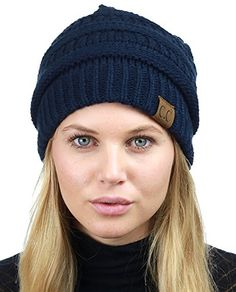 5922ec6ec24af Extra Off Coupon So Cheap C.C Unisex Chunky Soft Stretch Cable Knit Warm  Fuzzy Lined Skully Beanie. Winter Hats ...