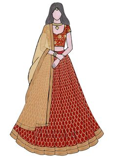 Lehenga Choli - Buy breathtaking lehenga choli design for wedding, party or festive occasions online from Cbazaar's latest collection of bridal, party, and festive wear lehenga. Dress Design Drawing, Dress Design Sketches, Fashion Design Sketchbook, Fashion Design Drawings, Fashion Sketches, Fashion Drawing Dresses, Fashion Illustration Dresses, Indian Fashion, Fashion Art