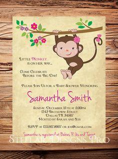 Monkey Baby shower Invitation, Little Monkey, Boy, Girl, Girl Baby Shower Invite, Boy Baby Shower Invitation, Pink, Blue, Brown (Item 5156)