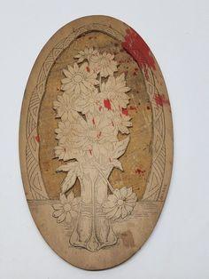 Antique Flemish Art Wood Burning Pyrography Plate Folk Art Victorian Flowers #FlemishArtCompany