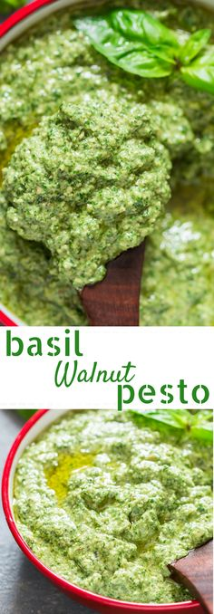 Fresh basil walnut pesto is easy and delicious vegan pesto that swaps the pricey pinenut with walnut. A great recipe to grab all the fresh basil from your garden patio and turn into a pesto that can be put to use in so many different ways. Pesto With Walnuts Recipes, Basil Pesto Recipes, Recipes With Fresh Basil, Vegetarian Recipes, Cooking Recipes, Healthy Recipes, Crockpot Recipes, Vegetarian Sandwiches, Eggs Crockpot