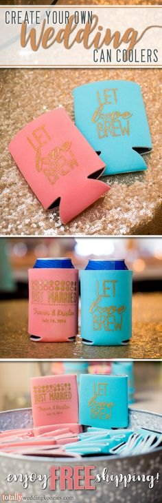 Create your own custom wedding can coolers as can coolers offer a unique, yet fun way to thank your guests! Select from over 1,000 design options, 45 product colors and 25 imprint colors. Use our state-of-the-art Design Ideas tool to uniquely showcase your name, wedding date or message on these re-usable can coolers! Use coupon code PINFREESHIP and receive FREE Ground Shipping in the Continental United States! Code is not valid with other coupon codes and is valid through April 4, 2017!