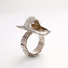 Modernist Anton Michelsen Ring by Knud V. Andersen Silver Bark Ring Nordic 1970s $250.00