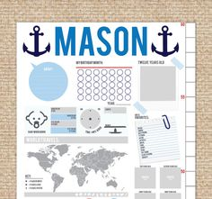 Interactive Growth Chart, Nautical theme // Scrapbook growth chart // Custom match colors to your room // 13x40 canvas // N-C05