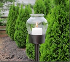 Extremely Cool DIY Outdoor Candle Lanterns - using drinking glass as the hurricane Outdoor Candle Lanterns, Can Lanterns, How To Make Lanterns, Diy Lantern, Glass Lanterns, Wall Lantern, Led Candles, Torches Tiki, Do It Yourself Design