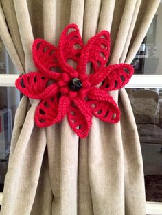 Crochet Curtain Tieback - red flower (1 pair) by JinesCrafts on Etsy