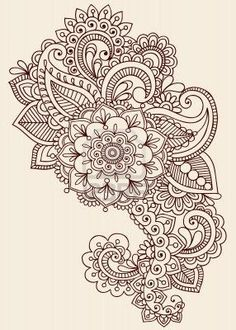 Henna Paisley Flowers Mehndi Tattoo Doodles Design- Abstract Floral Stock Photo – vintage style
