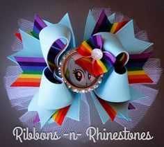 Rainbow Dash Boutique Hair Bow, My Little Pony Boutique Hair Bow, Rainbow Dash My Little Pony Bow by RnRshairbowsandmore on Etsy