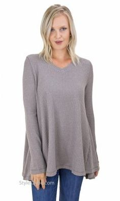 Jessy Oversized Soft Thermal Knit Tunic In Taupe Gray