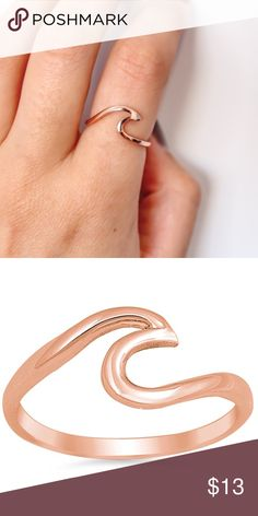 Sterling Silver Rose Gold Plated Wave Ring Perfect wave for the summer!   Made of .925 sterling silver  Rose Gold Plated   Cubic zirconia ✳️ Sizes 4-10 Jewelry Rings