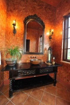Great idea for a guest bath or powder room!  Love the wall treatment.