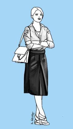Ein Rock für jeden Figurtyp: Ein gerader Rock mit Kellerfalte vorne erhält eine leichte A-Linien-Form, die schön schlank macht. Taillenhoch und in Midi-Länge verlängert dieser #Rock  die Hüft-Knie-Zone, verkürzt aber die Knie-Fuß-Zone. Höhere Absätze gleichen dies aus. #Modeflüsterin - Mode, Stil und Wellness für starke Frauen. www.modefluesterin.de