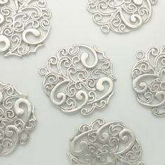 Matte Silver Filigree beads Pendants Charms by Annielov2 on Etsy, $1.80