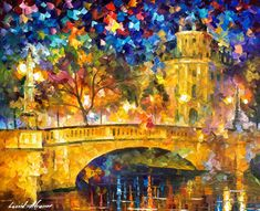 Original Recreation Oil Painting on Canvas  This is the best possible quality of recreation made by Leonid Afremov in person.    Title: Bridge