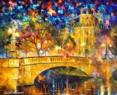 Puente de respeto moderno paisaje colorido de por AfremovArtStudio