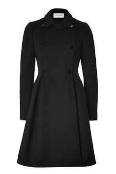 VALENTINO Black Double Breasted Swing Coat