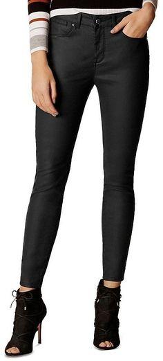 1bb6deac33a Maje Panako Skinny Frayed-Hem Ankle Jeans in Black