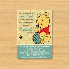 Winnie the Pooh Baby Shower Invitation - Printable - The Smallest Things - Gender Neutral, Boy, Girl. $12.00, via Etsy.