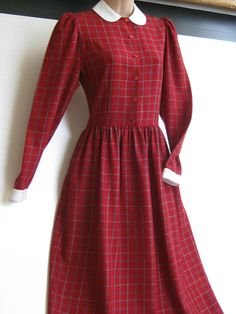 LAURA ASHLEY Vintage Deep Red Check Classic by VINTAGELAURAASHLEY, £138.00