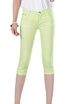 3//4 da Donna TREGGINGS Leggings Jeggings Stretch anca Capri Shorts Pantaloni Estate