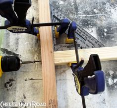 If you clamp them to a carpenters square you not only get a true 90 degree angle you leave your hands free to drill the screw into place.