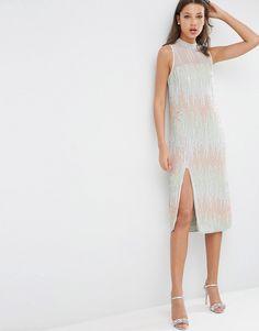Image 4 ofASOS TALL Premium Embellished Stripe Column Midi Dress with High…