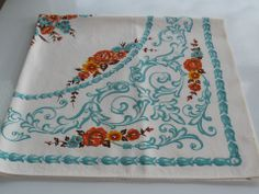 Pineapple House Antiques ~ Vintage turquoise with assorted colors autumn floral tablecloth!
