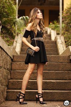 Cutout Black Dress with Edgy Accessories to Kick It Up A Notch.