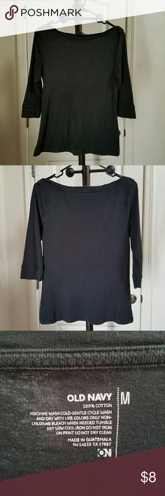 Old Navy ▪ 3/4 Sleeve Boat-Neck Black Knit Tee Old Navy brand ▪ 3/4 Sleeve ▪ Boatneck Knit Top ▪ Black Color ▪ Excellent Used Condition ▪ 100% Cotton Old Navy Tops Tees - Long Sleeve