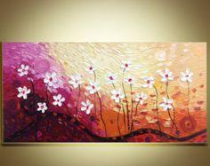 fiori bianchi pittura di paesaggio contemporaneo spatola di art68
