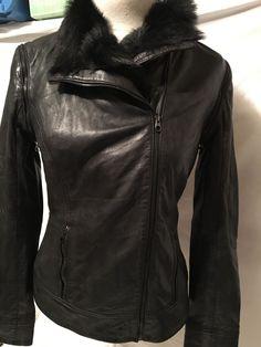 Nwot Nordstrom Ted Baker Womens Black Leather See In Love  Fur Collar Coat Sz 1 #Nordstrom #Motorcycle