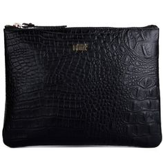 BOWIE Chloe Clutch - Black Croc ($93) ❤ liked on Polyvore featuring bags, handbags, clutches, clutches / wallets / purses, black clutches, real leather handbags, crocodile handbag, leather purse and black leather handbags