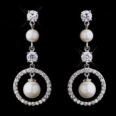 White Pearl and CZ Bridal Wedding Earrings-Affordable Elegance Bridal -