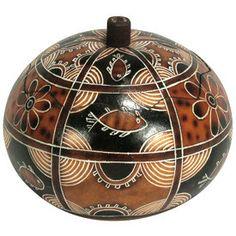 Geometric Fish Gourd Box from Peru