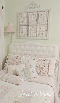 Shabby Chic bedroom. Love the matching fabric in the vintage window.