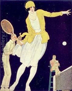 Illustration from La Vie Au Grand Air, Tennis with Mademoiselle Suzanne Lenglen by Rene Vincent, 1921