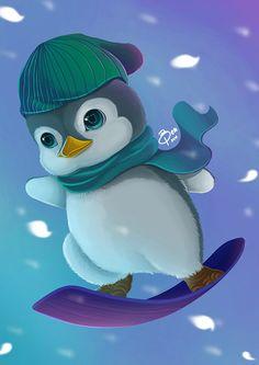 penguin awareness on Behance Penguin Images, Penguin Art, Penguin Love, Cute Animal Drawings, Cartoon Drawings, Cute Drawings, Pinguin Drawing, Baby Animals, Cute Animals