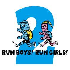 Run boys! Run girls! Dark Pop, Print Design, Logo Design, Japan Logo, Comic Poster, Monster Illustration, Funny Drawings, Vintage Drawing, Badge Design
