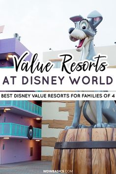 Best Disney Value Resorts at Disney World for Families of 4 // WDW Basics // A guide to the best Disney World value resorts for families of 4 with school age kids. This clear and concise Disney resort hotel guide will save you time! // PIN THIS and TAP TO READ #disneyvalueresorts #disneyresorts Best Disney World Resorts, Disney Value Resorts, Disney Resort Hotels, Disney World Tickets, Disney World Florida, Disney World Trip, Disney Vacations, Hotels And Resorts, Disney Go